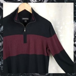 Banana Rep Black Red Cashmere Quarter Zip Sweater